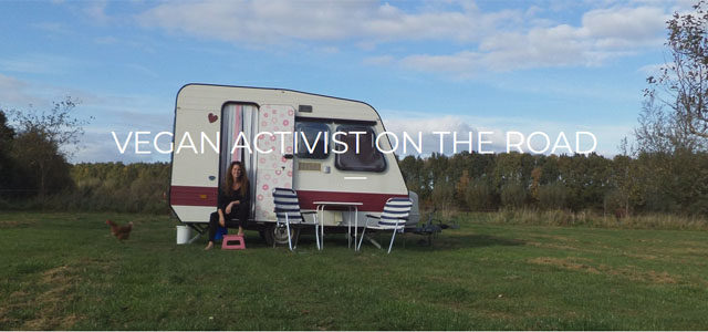 Vegan activist on the road
